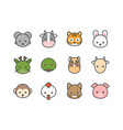 cute cartoon chinese zodiac filled icon vector image