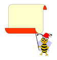 A funny Christmas cartoon bee with a blank paper vector image vector image