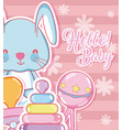 baby shower cartoons card vector image vector image
