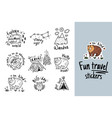 big set of cartoon sticker for camping in vector image