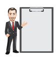businessman with blank paper on a clipboard vector image vector image