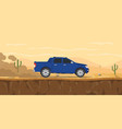 car pickup truck on the desert road with cactus vector image