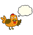 cartoon old rooster with thought bubble vector image vector image