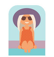 cartoon summer girl in a swimsuit and hat vector image