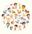 collection kids and animals vector image