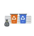 colored waste bins waste management plastic vector image