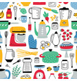 colorful seamless pattern with cooking tools on vector image