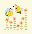 cute bees flying over yellow flowers vector image vector image