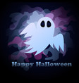 cute ghost in honor of halloween postcard for the vector image