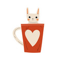cute white bunny in red teacup with heart vector image