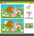 differences game for kids with farm animals vector image vector image