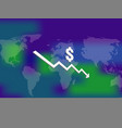 dollar money fall down symbol with world map and vector image vector image
