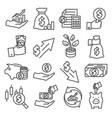 economy line icons set on white background vector image vector image