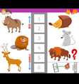 educational task with large and small animals vector image