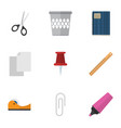 flat icon equipment set of trashcan sticky vector image vector image