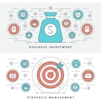 Flat line Strategic Management and Investment vector image vector image