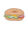 fresh bagel sandwich with cheese and vegetables vector image vector image