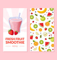 fresh fruit smoothie menu card template with ripe vector image vector image