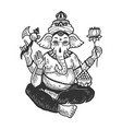 ganesha indian god engraving vector image vector image