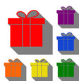 gift box sign set of red orange yellow green vector image vector image