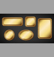 gold name plates with wooden frame and screws vector image vector image