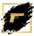 gun sign golden icon at vector image vector image