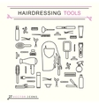 Hairdressing tools - icons vector image