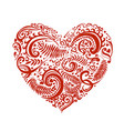 hand drawn sketch of heart with ornaments vector image