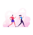 happy couple man and woman in sports wear running vector image