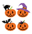 happy halloween day bat and spider cute pumpkin vector image