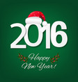 happy new year card with red santa hat vector image vector image