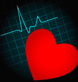 Heart symbol with heartbeat vector image