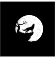 howling wolf silhouette with moon logo design vector image