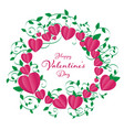 isolate valentines frame contains heart rounding vector image vector image