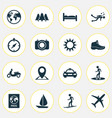 journey icons set with skier sail compass and vector image
