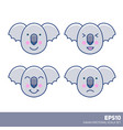 Kawaii nice pastel kid cartoon koala faces set