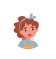 lovely girl avatar of cute little curly girl vector image vector image