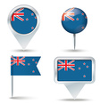 Map pins with flag of New Zealand vector image