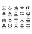 marine black silhouette icons set vector image