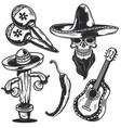 mexican elements for creating your own badges vector image