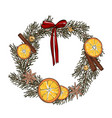 modern door decoration wreath with dried fruits vector image vector image