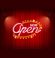 neon open sign on curtain vector image