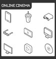 online cinema outline isometric icons vector image vector image
