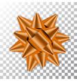 orange bow ribbon decor element package shiny vector image