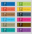 Palm icon sign Set of twelve rectangular colorful vector image vector image