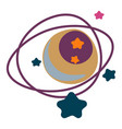 planet with orbit and stars outer space galaxy vector image