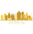 salt lake city utah usa city skyline golden vector image vector image