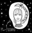 scorpio woman with zodiac sign vector image vector image