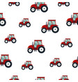 seamless pattern red tractor on white background vector image vector image