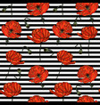 seamless pattern with poppy flowers and stripes vector image vector image